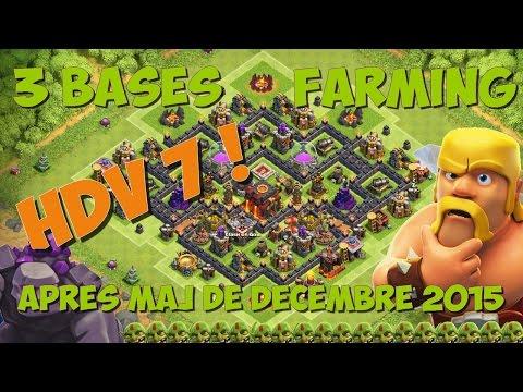 3 BASES HDV 7 FARM/HYBRIDE APRES MISE A JOUR HDV 11 | Clash of Clans Fr