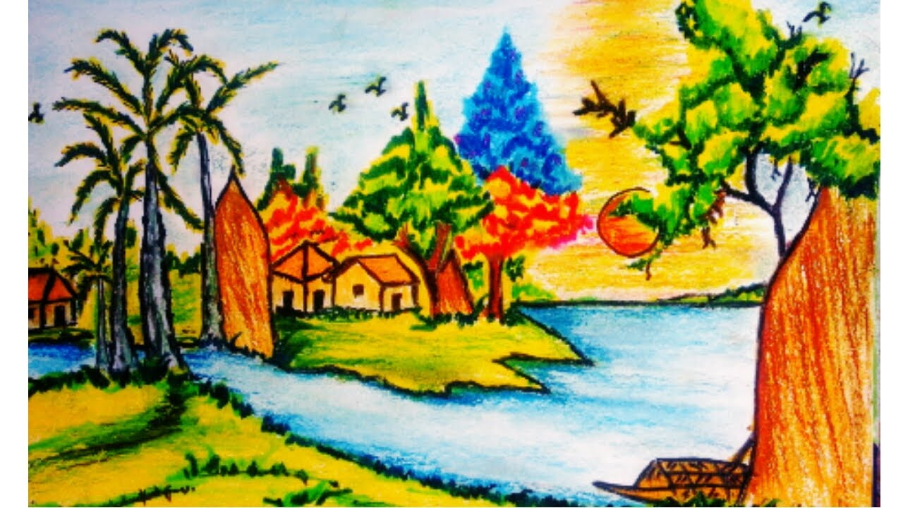 Village Drawing And Colouring