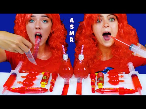 ASMR RED FOOD PARTY FRUIT BY THE FOOT RACE, JELLO SHOOTER, SOUR CANDY SPRAY