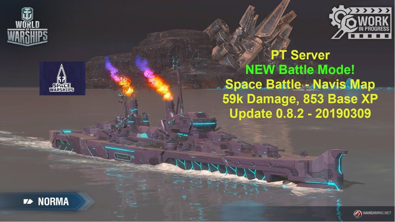 World of Warships - PT Server - April Fools 2019 - Space Battle - Norma -  New Battle mode!