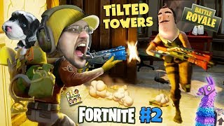 FORTNITE #2 w/ HELLO NEIGHBOR! Looting, Shooting, My Dog is Tooting! (The Tilted Towers Sniper) - FGTeeV