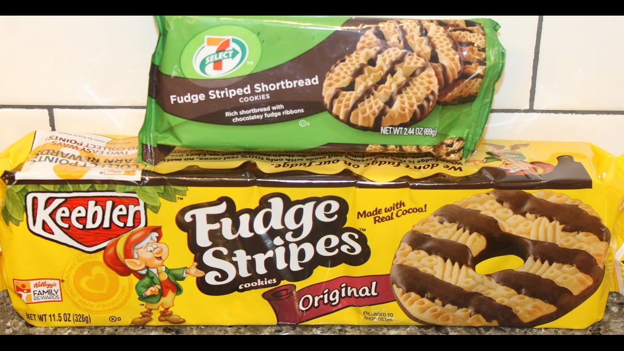 7 Eleven 7-Select Fudge Striped Shortbread Cookies vs Keebler Fudge ...