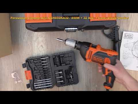 Unboxing and testing BLACK+DECKER BEH850KA32 Impact drill + 32 Acc. in case - Bob The Tool Man