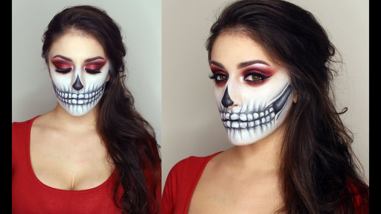Skull Facepaint Tutorial Halloween Make-up | Giulianna - YouTube