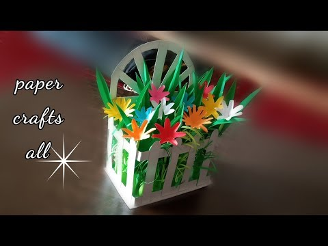 how to make mini paper flowers / paper flower basket making / flower basket