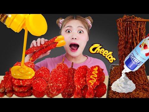 Download Mukbang Cheetos FIRE CHICKEN & CHEETOS HOT DOG CHEESE STICK CHEESE BALLS EATING SOUND by HIU 하이유