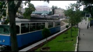 Винница. Площадь Гагарина. Трамвай Be 4/6 Mirage на маршруте №4. Эп...