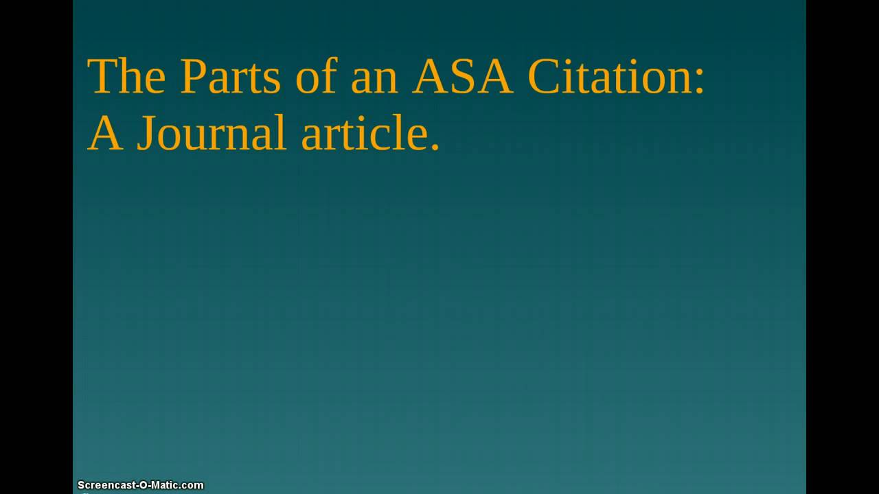 How to write a journal article citation