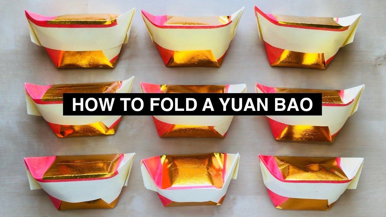 EXCEART 400Pcs Golden Ingot Yuan Bao Chinese Joss Paper DIY Gold Ingot for Ancestor Worship