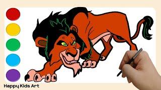 Drawing Lion King villain SCAR with Tablet Coloring | 라이언킹 빌런 카리스마 스카 따라 그리기 키즈 컬러링~