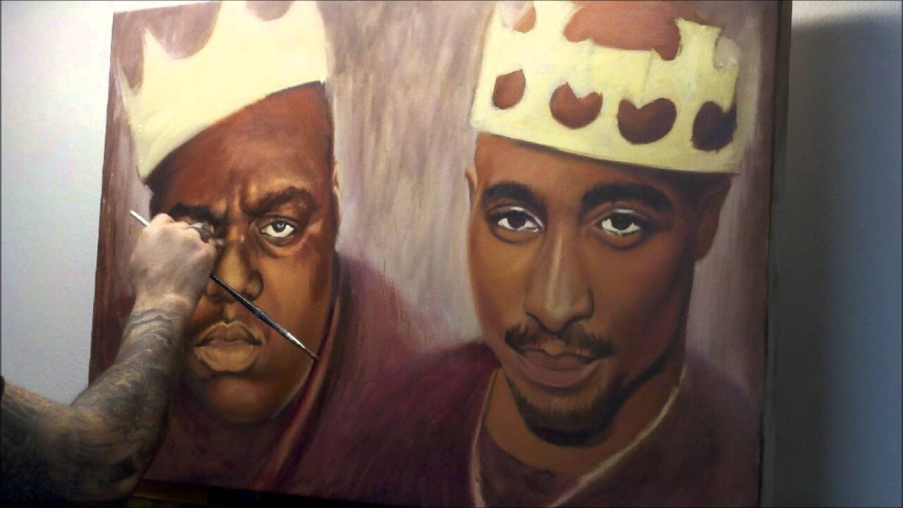 2pac and Biggie speed painting - YouTube Tupac And Biggie Painting