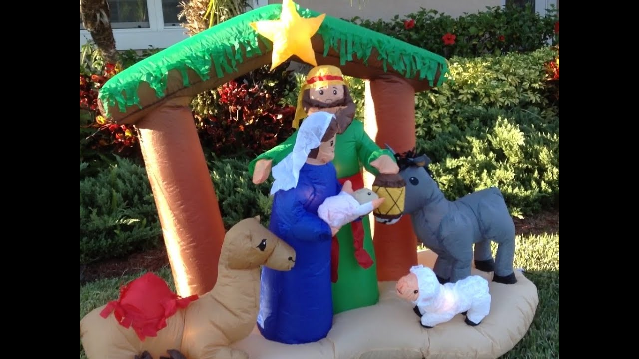 25 days of christmas day 1 inflatable christmas nativity scene youtube - Christmas Blow Up Decorations Outside