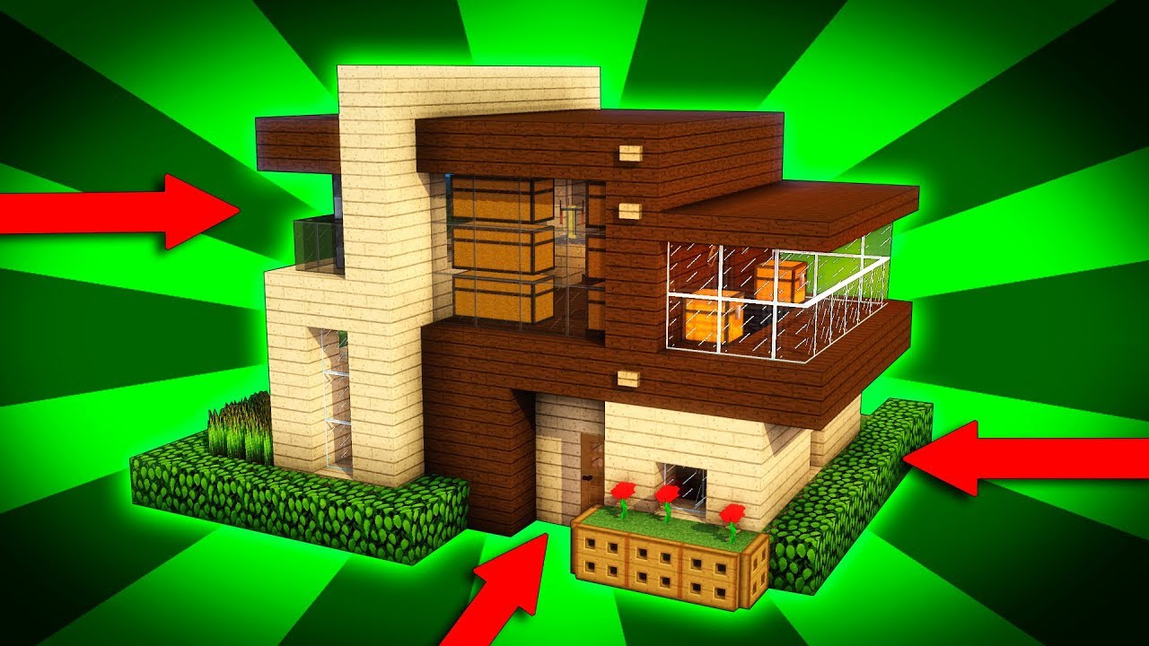 Minecraft How To Build A Modern Wooden House Tutorial 1 Easy