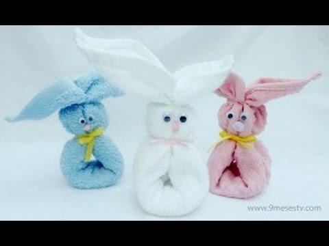 Como hacer un conejo con toallas de ba o por vanessa - Como hacer figuras con chuches ...