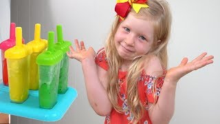 Rainbow Fruit Ice Lollipops Color Song | Angie Pretend Play Learn Colors Nursery Rhymes & Kids Songs