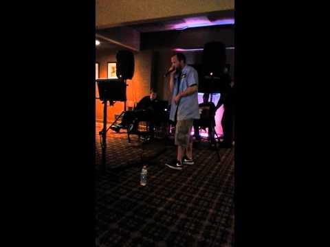 "Joe from Left Lane Cruiser performs ""power of love"" karaoke at the Holiday Inn"