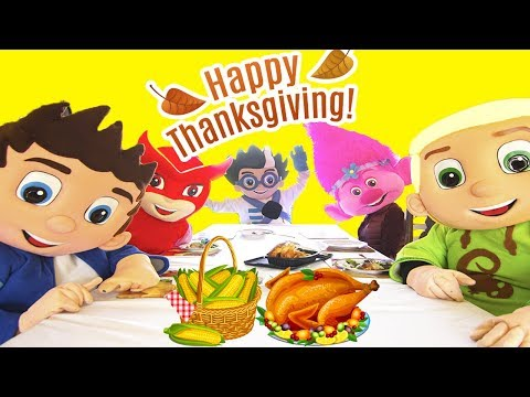 Thanksgiving Dinner Adventure In Real Life at PJ Masks Catboy's House with, Trolls Poppy