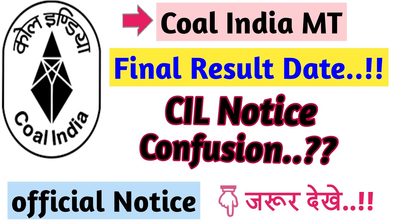Coal India MT Result 2020 II CIL Notice