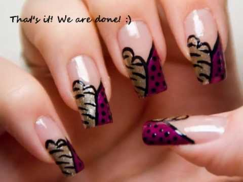 quick and easy gold zebra animal print nail art design