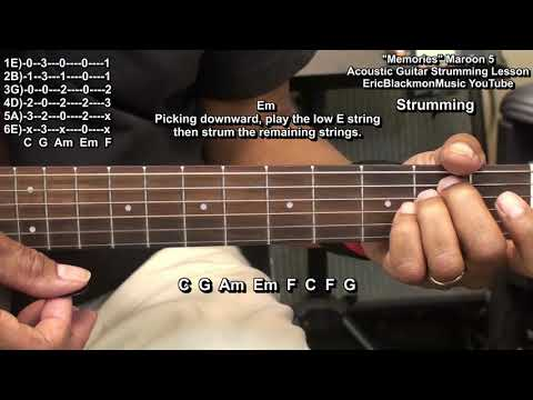 MEMORIES Maroon 5 NO CAPO Guitar Lesson Basic Chords - Standard Tuning - Canon @EricBlackmonGuitar