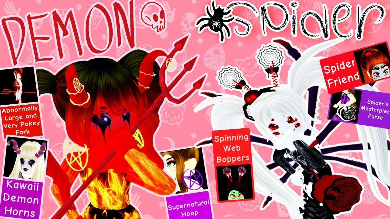 roblox demon tail How To Get The Demon Spider Accessories Candy Hunt Guide Royale High Youtube
