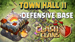 Clash of Clans Town Hall 11 Defense [CoC TH11] BEST Trophy Base Layout Defense Strategy