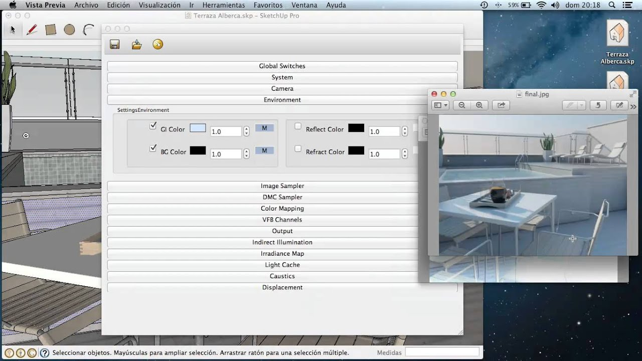 Render exterior sketchup setting youtube for Setting render vray sketchup exterior