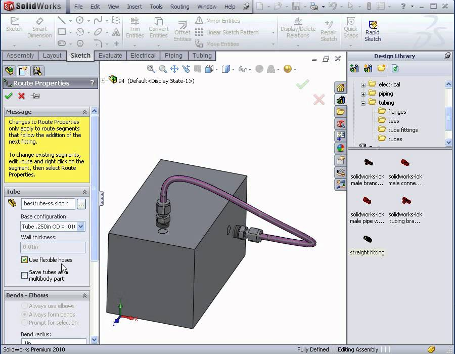 solidworks routing video tutorial  flexible tubing, wiring diagram