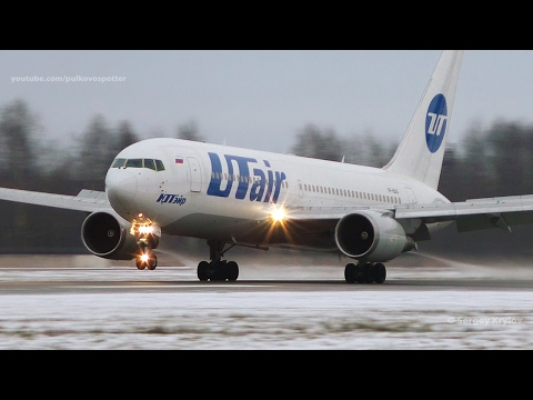 UTair Boeing 767 VP-BAG, smooth landing with one thrust reverser.