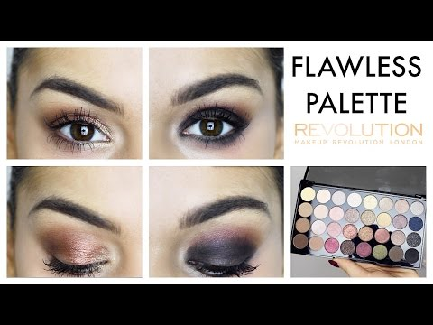 1 PALETTE 2 LOOKS: MAKEUP REVOLUTION ULTRA 32 SHADE EYESHADOW PALETTE FLAWLESS