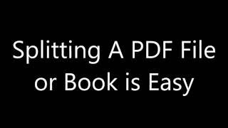 How to split PDF Book or File Chapter