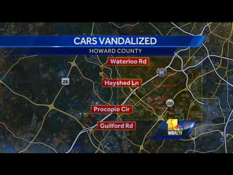 Video: Vandals spray-paint dozens of cars in Howard County