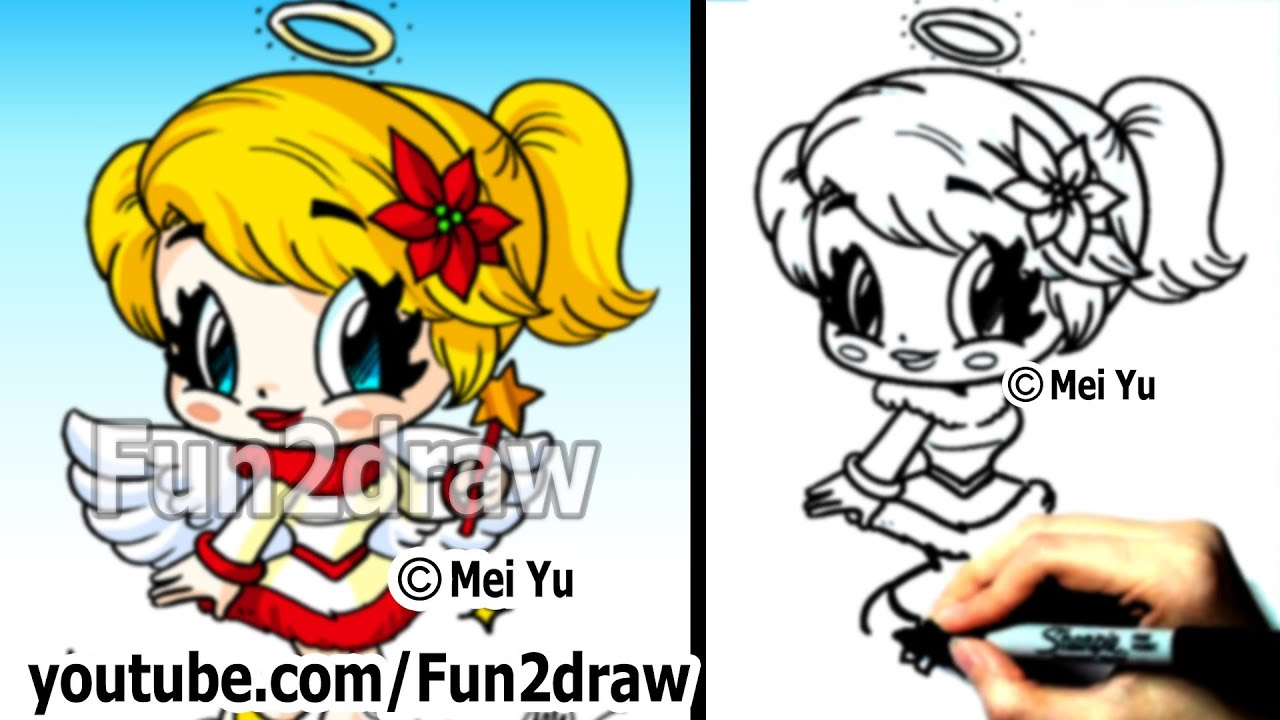 How to Draw Christmas Chibi - How to Draw an Angel - Draw People ...