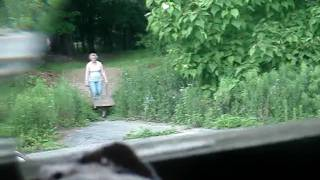 "Allegedly ""disabled"" Woman Pushing Wheelbarrow Full Of Wet Wood Chips Up A Hill"
