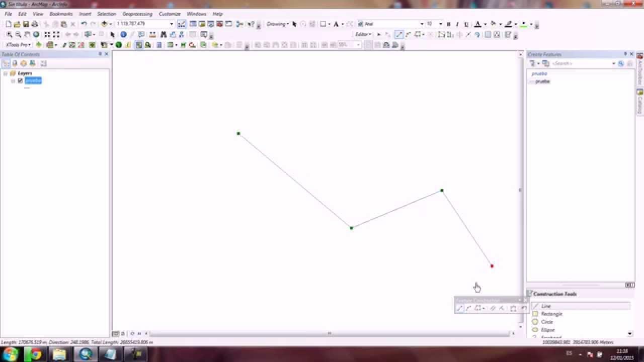 Crear Y Calcular La Distancia De Una Polilinea En Arcgis 10 Youtube