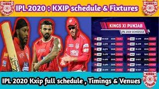 IPL 2020 = Full Schedule,Fixtures, Timings, Venues of Kings XI Punjab (KXIP)