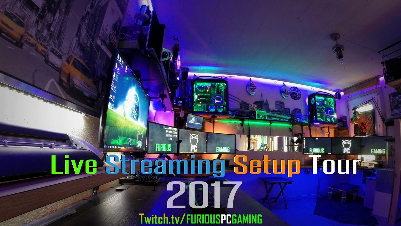 live streaming pc setup tour 2017 furious pc gaming hq youtube. Black Bedroom Furniture Sets. Home Design Ideas