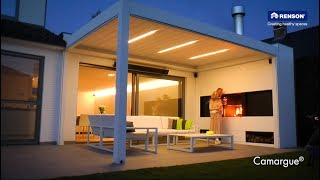 NEW - Outdoor living space Camargue by Renson with integrated fireplace