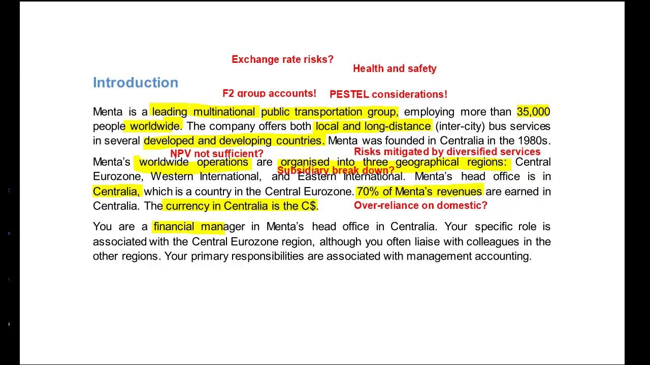 Hoekbank Montel Cima.Cima Management Case Study Pre Seen Menta Pre Seen Analysis May
