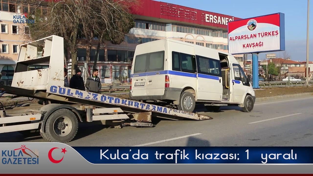Kula'da İşçi Servisi Kaza Yaptı 1 Kişi Yaralandı