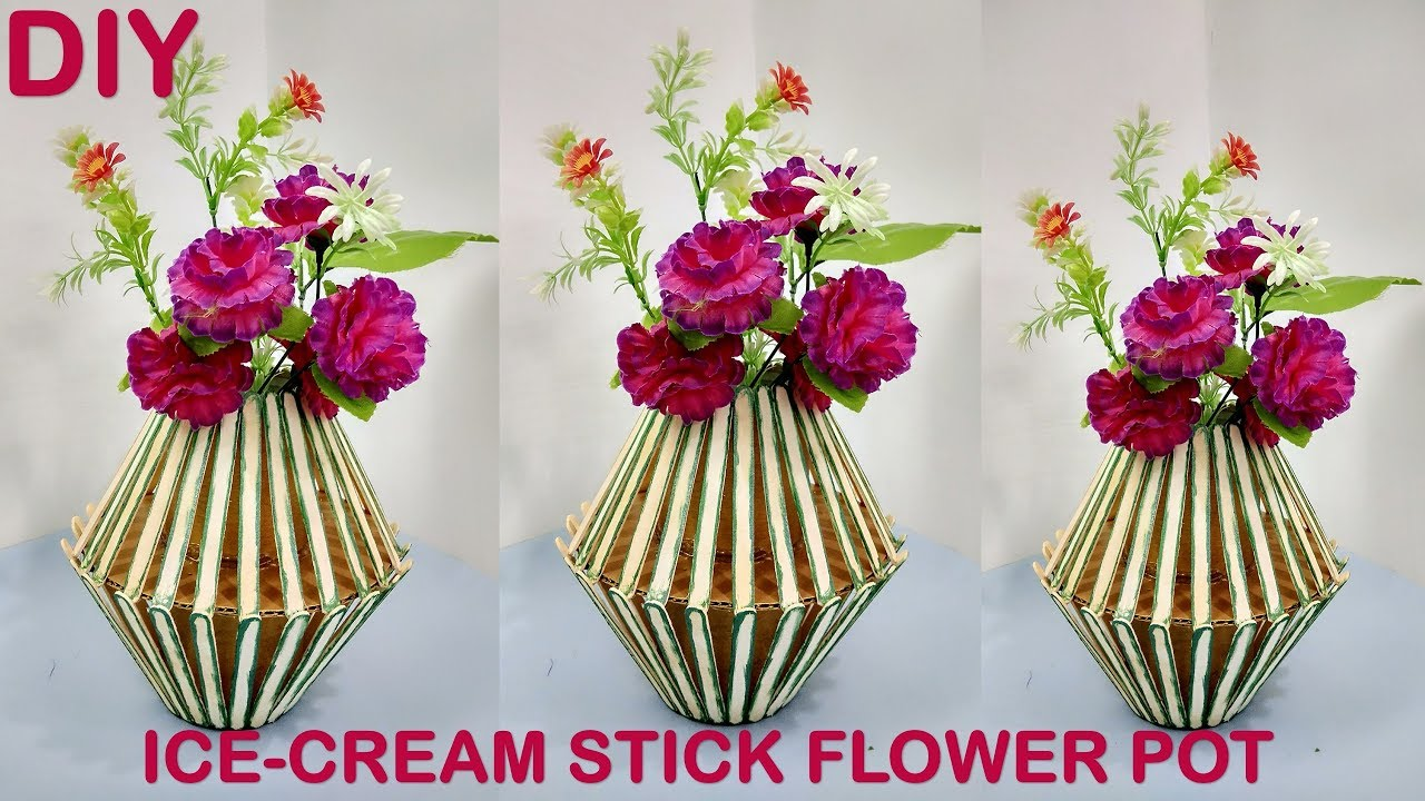 How to make flower pot at home ice cream stick craft for Flower making at home