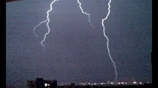 Lightning Thunder Storm Strike near Paris 28 may 2018 Orage Eclairs Foudre mai France