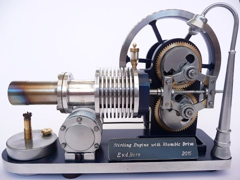 Stirling engine with Rhombic drive