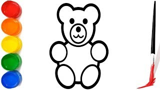 Easy Teddy Bear Drawing For Kids   How to drawing And Coloring Teddy Bear For Children   Learn Color
