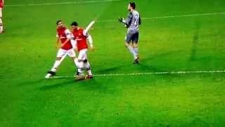Mesut Özil arguing with Mathieu Flamini - Arsenal vs. FC Bayern Munich - 19/02/2014