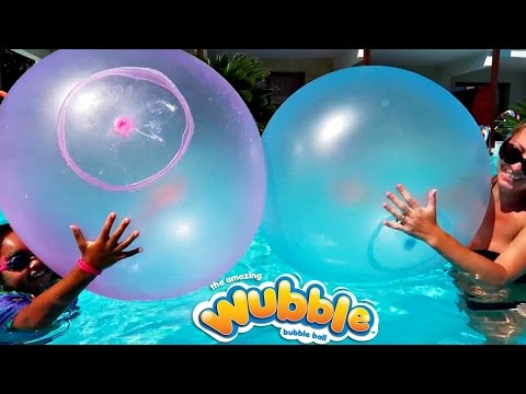 Giant Wubble Bubble Balloons Explosion In Our Pool - Family Fun | Toys AndMe