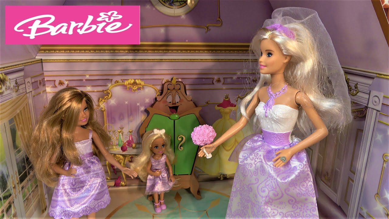 Barbie Wedding Dress Story in Princess Belle Castle with Ken and Barbie Sisters Chelsea and Stacie