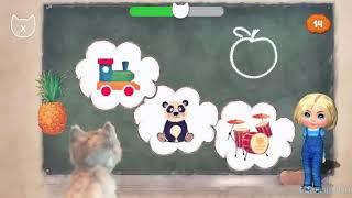 Развивающий мультфильм для малышей - Учим слова с малышкой и кошечкой на русском и английском языке.