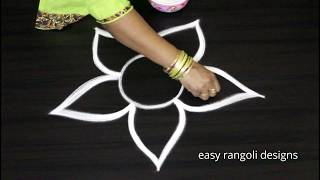 Cute & small rangoli kolam designs with out dots || easy & simple beginners muggulu