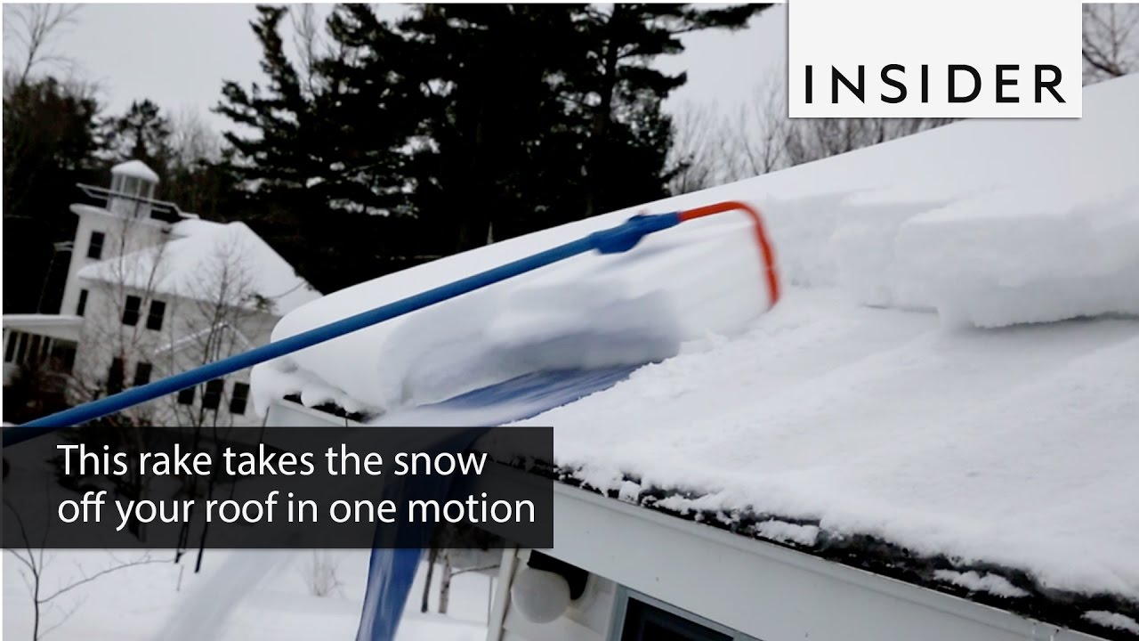 This Rake Takes The Snow Off Your Roof In One Motion   YouTube